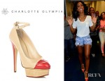 Kelly Rowland's Charlotte Olympia Kiss Me Leather Ankle Strap Platform Pumps