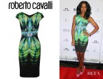 Kelly Rowland's Roberto Cavalli Printed Crepe Jersey Dress