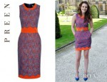 Kristen Stewart's Preen Lace Overlay Ingrid Pencil Dress