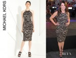 Lauren Graham's Michael Kors Zebra Print Jersey Halter Dress