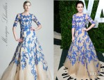Lily Collins' Monique Lhuillier Three Quarter Sleeve Tulle And Lace Gown