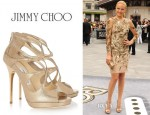 Malin Akerman's Jimmy Choo Loila Metallic Textured Leather Sandals