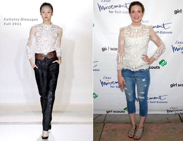 Mandy Moore In Collette Dinnagan -  'Girl Scouts Rock The Mall'