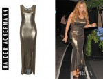 Mariah Carey's Haider Ackerman Gold Metallic Sleeveless Stretch Dress