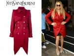 Mariah Carey's YSL Long Trench Coat