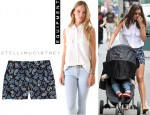 Miranda Kerr's Equipment Signature Sleeveless Blouse And Stella McCartney Paisley Print Stretch Crepe Shorts