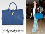 Miranda Kerr's YSL Cabas Chyc Leather East West Bag And Stella McCartney Round Frame Acetate Sunglasses