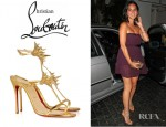 Olivia Munn's Christian Louboutin Lady Max Spike Embellished Metallic Leather Sandals