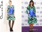 Rashida Jones' Oscar de la Renta Leaf Print Silk And Cotton Dress
