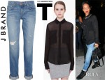 Rihanna's T by Alexander Wang Long Sleeve Silk Blouse, J Brand Aiden Distressed Boyfriend Fit Jeans And Giuseppe Zanotti Suede Studded Sneakers