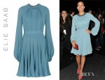 Rosario Dawson's Elie Saab Beaded Neckline Shirt Dress
