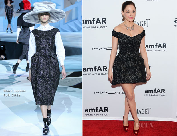 Rose McGowan In Marc Jacobs - 3rd Annual amfAR Inspiration Gala New York