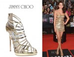 Selena Gomez' Jimmy Choo Virginia Metallic Leather Cage Sandals