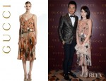 Tiffany Hsu's Gucci Oshibana Print Cocktail Dress