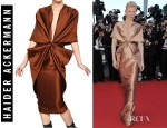 Tilda Swinton's Haider Ackermann Wool Silk Shantung Dress