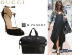 Vanessa Lachey's Gucci T-Bar Pumps And Givenchy Nightingale Zanzi Leather Bag