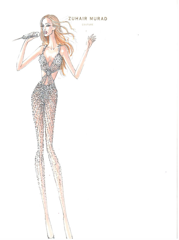 Zuhair Murad sketches for Jennifer Lopez' World Tour Wardrobe
