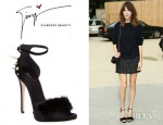 Alexa Chung's Giuseppe Zanotti Jekyll And Hyde Mink And Spiked Embellished Sandals
