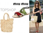 Alexa Chung's Miu Miu Cherry Flat Sandals And Topshop Crochet Shopper Bag