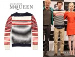 Andrew Garfield's Alexander McQueen Striped Cotton And Cashmere Blend Sweater