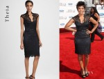 Angela Bassett's Theia Lace Cocktail Dress