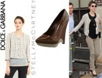 Anne Hathaway's Dolce & Gabbana Crop Tweed Jacket And Stella McCartney Rubber Wedge Faux Croc Pumps