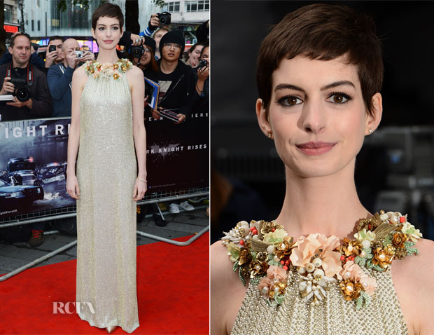 Anne Hathaway In Gucci - 'The Dark Knight Rises' London Premiere