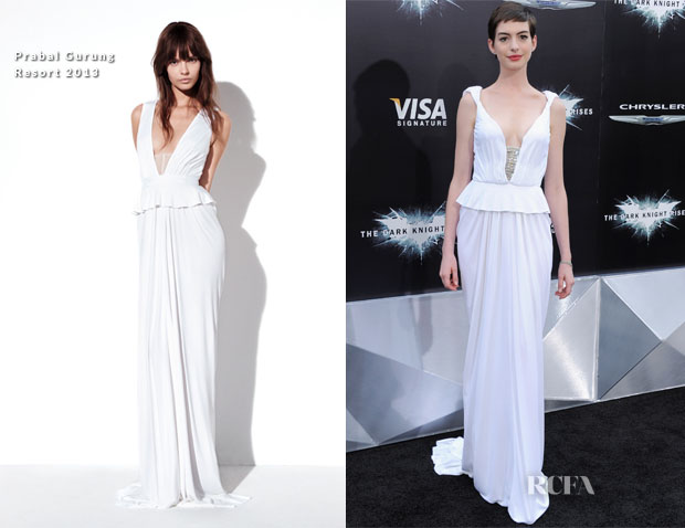 Anne Hathaway In Prabal Gurung - 'The Dark Knight Rises' New York Premiere
