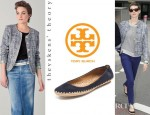 Anne Hathaway's Theyskens' Theory Jitane Blazer And Tory Burch Holliday Suede Ballet Espadrilles