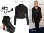 Ashley Benson's Topshop Skull Studded Leather Biker Jacket And Jeffrey Campbell Lita Booties