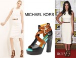 Ashley Greene's Michael Kors Belted Wool Crepe Dress And Michael Kors Colour Block Sandals