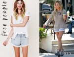 Ashley Tisdale's Free People Lacey Denim Cutoff Shorts And Free People Hanshaw Stud Boots