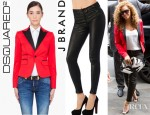 Beyonce Knowles' Dsquared² Blazer And J Brand Super Skinny Leather Pants