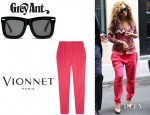 Beyonce Knowles' Vionnet Cotton Twill Tapered Pants And Grey Ant Status Sunglasses