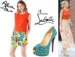 Blake Lively's Alice + Olivia Mandy Chain Crop Top And Christian Louboutin Bollywoody Suede Pumps