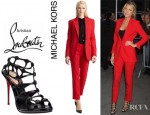 Blake Lively's Michael Kors Wool One-Button Blazer, Michael Kors Skinny Wool Samantha Pants And Christian Louboutin Neuron Sandals