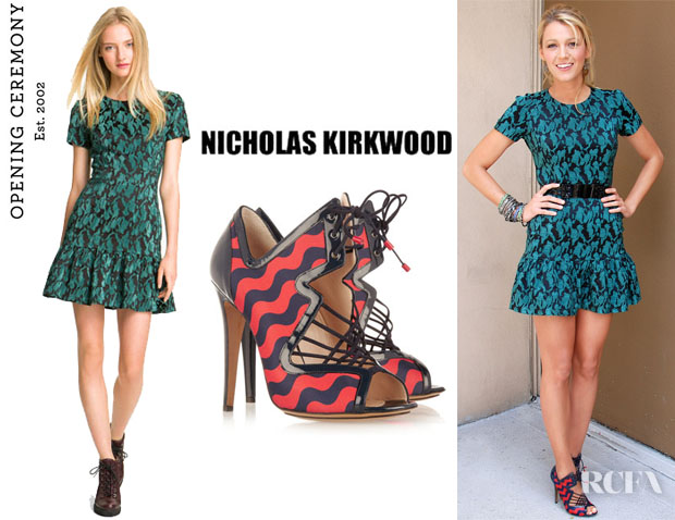 Blake Lively's Opening Ceremony Ruffled T-Shirt Dress And Nicholas Kirkwood Patent Leather Trimmed Satin Sandals