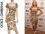 Chloe Moretz' Dolce & Gabbana Printed Stretch Silk Charmeuse Dress