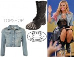 Demi Lovato's Topshop Moto Shoulder Spike Jacket And Steve Madden Studded Lace Up Ankle Boots