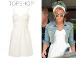 Demi Lovato's Topshop Lace Corset Flippy Tunic Dress And Topshop Moto Shoulder Spike Denim Jacket