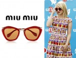 Dianna Agron's Miu Miu Cat Eye Glitter Acetate And Metal Sunglasses