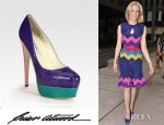 Elizabeth Banks'Brian Atwood Marilyn Multicolored Snakeskin Platform Pumps