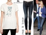 Emma Stone's Buberry Prorsum Dog Print Cotton Jersey T-Shirt, Preen Bella Stretch Cotton Drill Blazer And Rag & Bone Skinny Jeans