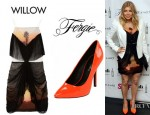 Fergie's Willow Printed Silk Blend Organza Dress And Fergie Protest Pointed Toe Pumps