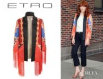 Florence Welch's Etro Patchwork And Embroidered Silk Cotton Coat