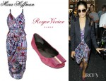 Freida Pinto's Mara Hoffman Faux Wrap Dress And Roger Vivier Suede Patent Bow Ballerina Pumps
