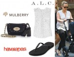 Hilary Duff's A.L.C. Juli Printed Silk Georgette Blouse, Mulberry Mini Lily Studded Suede Shoulder Bag And Havaianas Slim Flip Flops
