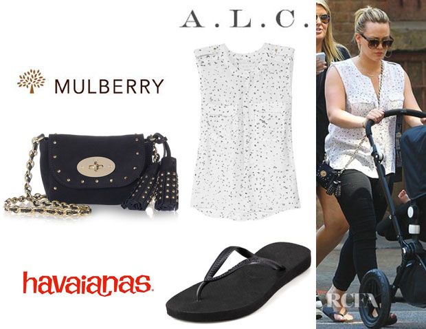 9b19834ed438 ... hot who hilary duff wearing a a.l.c. juli printed silk georgette blouse mulberry  mini lily studded