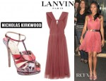 Jada Pinkett-Smith's Lanvin Pleated Silk Blend Tulle Dress And Nicholas Kirkwood Tribal T-Strap Sandals