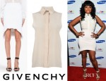 Jennifer Hudson's Givenchy Sleeveless Shirt, Givenchy Curved Front Skirt And Givenchy Embellished Hagfish Sandals